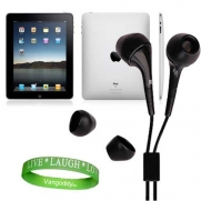 Apple iPad Tablet Compatible ** Black ** In-Ear Earbud Headphones for iPad ( ALL Models of ipad Tablet 3G , ipad Tablet wifi , ipad Tablet wifi + 3G, 16gb, 32 gb , 64gb ect...) + Live * Laugh * Love Silicone Wrist Band!!!