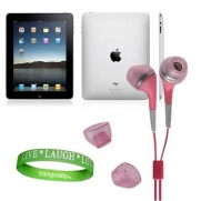Apple iPad Tablet Compatible ** Pink ** In-Ear Earbud Headphones for iPad ( ALL Models of ipad Tablet 3G , ipad Tablet wifi , ipad Tablet wifi + 3G, 16gb, 32 gb , 64gb ect...) + Live * Laugh * Love Silicone Wrist Band!!!