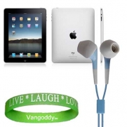 Apple iPad Tablet Compatible ** Blue ** In-Ear Earbud Headphones for iPad ( ALL Models of ipad Tablet 3G , ipad Tablet wifi , ipad Tablet wifi + 3G, 16gb, 32 gb , 64gb ect...) + Live * Laugh * Love Silicone Wrist Band!!!